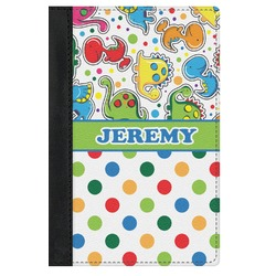 Dinosaur Print & Dots Genuine Leather Passport Cover (Personalized)