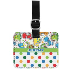 Dinosaur Print & Dots Genuine Leather Rectangular  Luggage Tag (Personalized)