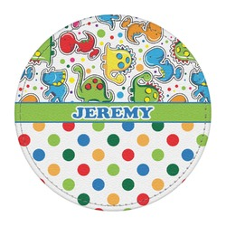 Dinosaur Print & Dots Round Desk Weight - Genuine Leather  (Personalized)