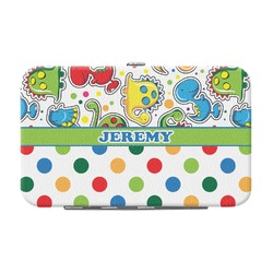 Dinosaur Print & Dots Genuine Leather Small Framed Wallet (Personalized)