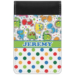 Dinosaur Print & Dots Genuine Leather Small Memo Pad (Personalized)