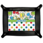 Dinosaur Print & Dots Genuine Leather Valet Tray (Personalized)