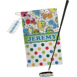 Dinosaur Print & Dots Golf Towel Gift Set (Personalized)