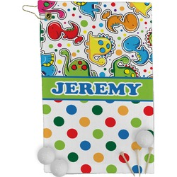 Dinosaur Print & Dots Golf Towel - Full Print (Personalized)