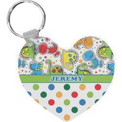 Dinosaur Print & Dots Heart Keychain (Personalized)