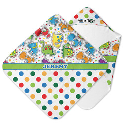 Dinosaur Print & Dots Hooded Baby Towel (Personalized)