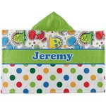 Dinosaur Print & Dots Kids Hooded Towel (Personalized)