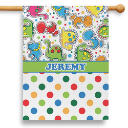"""Dinosaur Print & Dots 28"""" House Flag (Personalized)"""