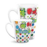 Dinosaur Print & Dots Latte Mug (Personalized)