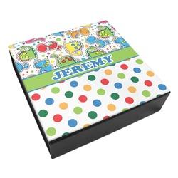 Dinosaur Print & Dots Leatherette Keepsake Box - 3 Sizes (Personalized)