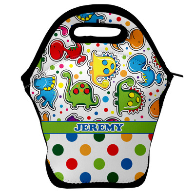 Dinosaur Print & Dots Lunch Bag w/ Name or Text