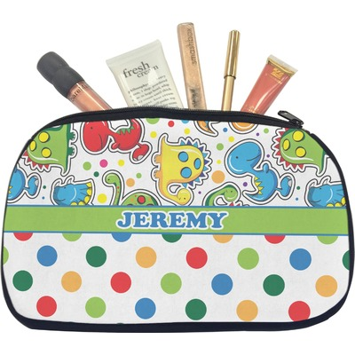 Dinosaur Print & Dots Makeup / Cosmetic Bag - Medium (Personalized)