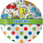 Dinosaur Print & Dots Melamine Plate (Personalized)