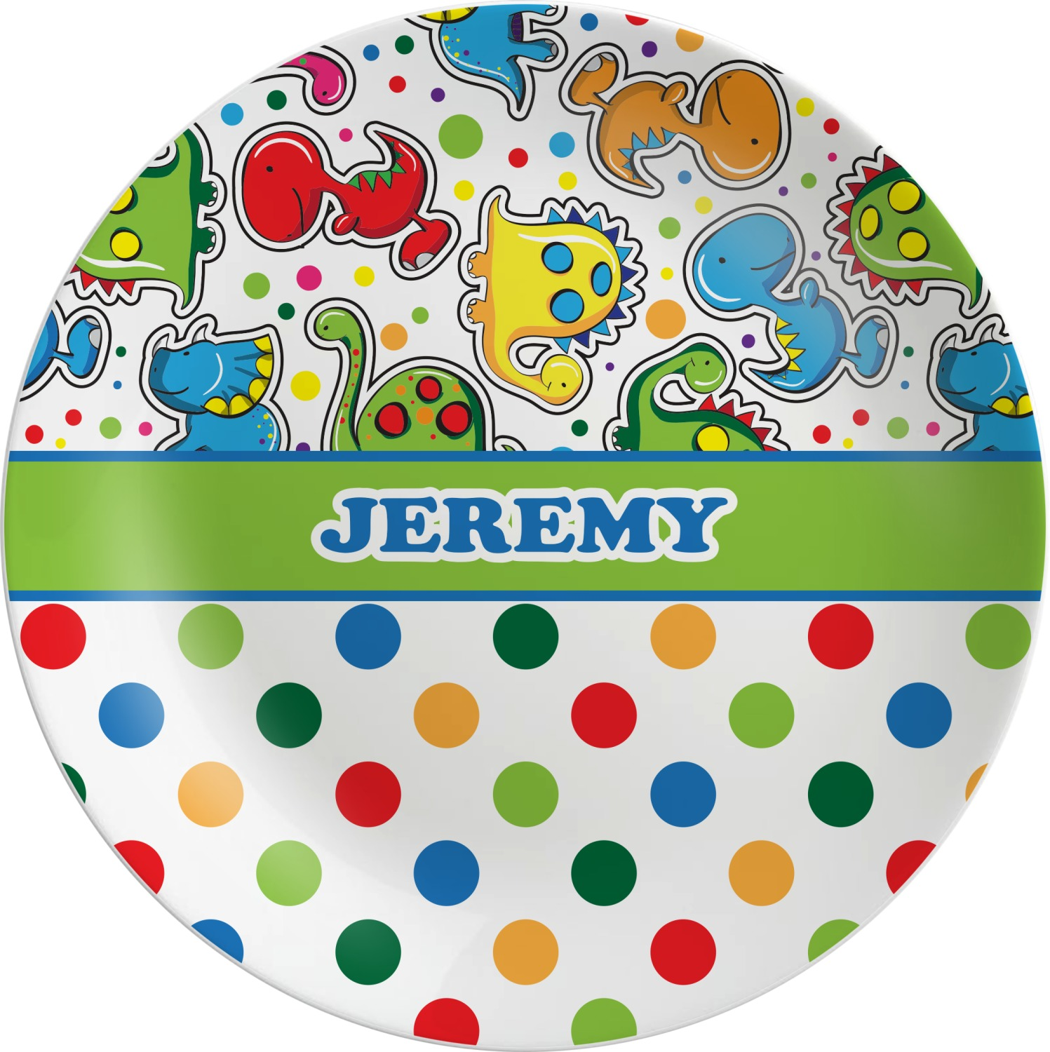 Dinosaur Print u0026 Dots Melamine Plate (Personalized)  sc 1 st  YouCustomizeIt : melamine plate printing - pezcame.com
