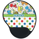 Dinosaur Print & Dots Mouse Pad with Wrist Support