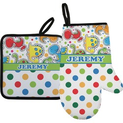 Dinosaur Print & Dots Oven Mitt & Pot Holder (Personalized)