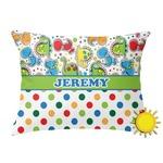 Dinosaur Print & Dots Outdoor Throw Pillow (Rectangular) (Personalized)