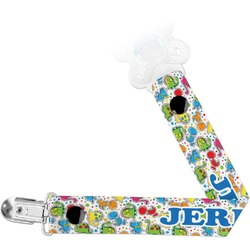 Dinosaur Print & Dots Pacifier Clips (Personalized)