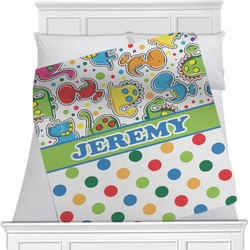 Dinosaur Print & Dots Minky Blanket (Personalized)