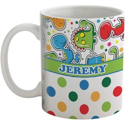 Dinosaur Print & Dots Coffee Mug (Personalized)
