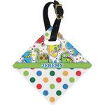 Dinosaur Print & Dots Diamond Luggage Tag (Personalized)