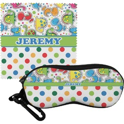 Dinosaur Print & Dots Eyeglass Case & Cloth (Personalized)