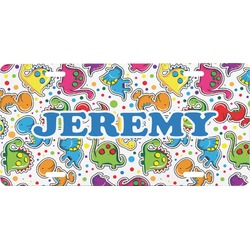 Dinosaur Print & Dots Front License Plate (Personalized)
