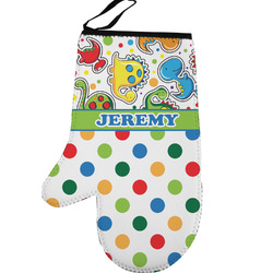 Dinosaur Print & Dots Left Oven Mitt (Personalized)