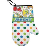 Dinosaur Print & Dots Right Oven Mitt (Personalized)