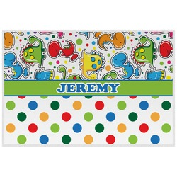 Dinosaur Print & Dots Placemat (Laminated) (Personalized)