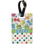 Dinosaur Print & Dots Rectangular Luggage Tag (Personalized)