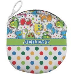 Dinosaur Print & Dots Round Coin Purse (Personalized)