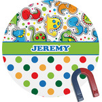 Dinosaur Print & Dots Round Magnet (Personalized)