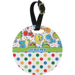 Dinosaur Print & Dots Round Luggage Tag (Personalized)
