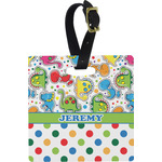 Dinosaur Print & Dots Square Luggage Tag (Personalized)