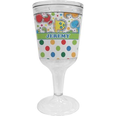 Dinosaur Print & Dots Wine Tumbler - 11 oz Plastic (Personalized)