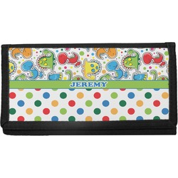 Dinosaur Print & Dots Canvas Checkbook Cover (Personalized)