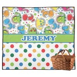 Dinosaur Print & Dots Outdoor Picnic Blanket (Personalized)