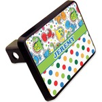 """Dinosaur Print & Dots Rectangular Trailer Hitch Cover - 2"""" (Personalized)"""