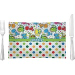 Dinosaur Print & Dots Glass Rectangular Lunch / Dinner Plate - Single or Set (Personalized)