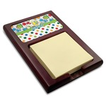 Dinosaur Print & Dots Red Mahogany Sticky Note Holder (Personalized)