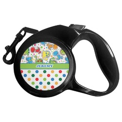 Dinosaur Print & Dots Retractable Dog Leash (Personalized)