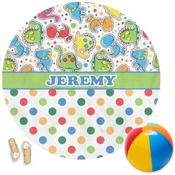 Dinosaur Print & Dots Round Beach Towel (Personalized)