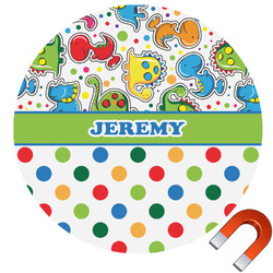 Dinosaur Print & Dots Round Car Magnet (Personalized)