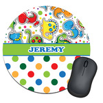 Dinosaur Print & Dots Round Mouse Pad (Personalized)