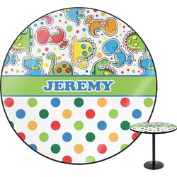 Dinosaur Print & Dots Round Table (Personalized)