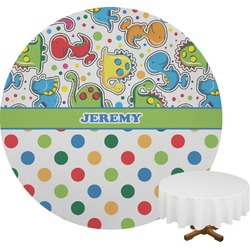 Dinosaur Print & Dots Round Tablecloth (Personalized)