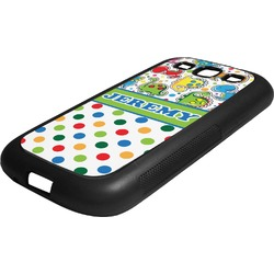 Dinosaur Print & Dots Rubber Samsung Galaxy 3 Phone Case (Personalized)