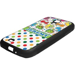 Dinosaur Print & Dots Rubber Samsung Galaxy 4 Phone Case (Personalized)