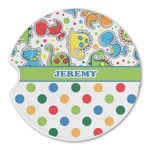 Dinosaur Print & Dots Sandstone Car Coasters (Personalized)